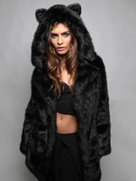 Wholesale Winter Womens Long Sleeve Faux Fur Jacket Hooded With Bear Ear Cute Thick Coat Outerwear Overcoat Parka