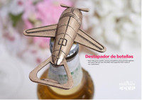 Wholesale Lovely Cinnamon Air Plane Shape Wine Beer Bottle Opener Stainless Steel Openers For Wedding Party Gift Favors Creative Promotional Gifts