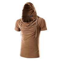 Hooded spring tide - In the new spring and summer men s hooded fashion slim Mens Shirt Short Sleeved tight solid tide