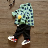 Wholesale Kids boys set new Liling Plaid Shirt sleeved dress baby spring two piece suit for children