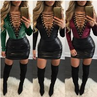 amp shorts - 2016 Autumn Woman Fashion Frenal Jumpsuits Amp Rompers Sexy Pleuche And Imitate Leather Package Short Skirt Two Suit