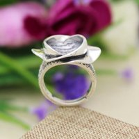 antique semi mounts - Art Deco Antique Sterling Silver Flower Ring x11mm Round Pearl Semi Mount Fine Silver Women Engagement Wedding Party Ring Setting