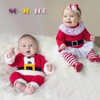 Санта костюмы Цены-2016 зима новый стиль одежды младенца Chirstmas GirlsBoys Санта-костюм Дети Костюмы с длинными рукавами Новый год наборы одежды и Пант Две пьесы