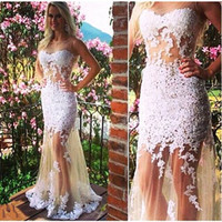 Wholesale See Through Lace Dresses White Custom Made Appliqued Tulle Mermaid Long Prom Gowns Cap Sleeve vestido de festa