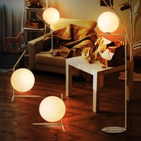 Wholesale Modern Glass Floor lamp Frosted White Glass floor Lamp shade Corridor Bedsides indoor Lamp E27 warm white