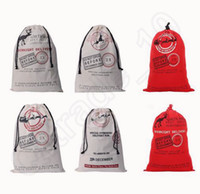 Wholesale Christmas Santa Drawstring Large Sack Bag Children Gift Bag for personalized canvas cotton Stocking Bag cm colors OOA521