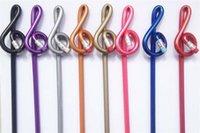 Wholesale 200 Pencil stationery Music pencil Treble clef pencil Shape Multicolor mixed wooden pencils