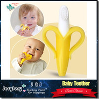 Wholesale Silicone Banana Toothbrush High Quality And Environmentally Safe Baby Teether Teething Ring Soft Brush Training Eco friendly