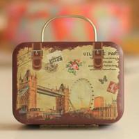 Wholesale Europe Style Vintage Suitcase Shape Candy Storage Box Elegant Wedding Favor Tin Box Organizer Retro Household Container For Kids Girls