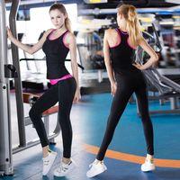 al por mayor juegos de los deportes de yoga-Nuevas medias de yoga de las mujeres Wicking corriendo conjunto de mujeres chaleco y pantalones deportivos traje de entrenamiento de la tapa del tanque de fitness gimnasio de poliéster Tracksuit Yoga establece