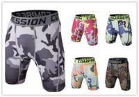 Wholesale fashion mens tight sports fitness training gym wear camouflage PRO wicking quick jogging shorts clothing cheap