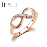 Wholesale Newest Best Quality Fashion Alloy Rose Gold Color Fine Jewelry Zircon Ring Infinity Crystal Rings For Women Best Gift