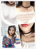 Wholesale Factory short clavicle pendants black choker collar necklaces leather choker necklace with pendants flowers lips skull free dhl