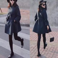 Wholesale Autumn Winter New Women Trench Woolen Coat Plus Size Long Coats Women Jacket Outerwear Full Sleeve Solid High Quality