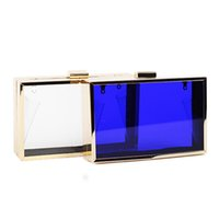 Wholesale 2016 Hot Sales Women Clear Acrylic Evening Clutch Bags With Chain Party Shoulder Hand Bag Metal Frame Mini Clear Purse XA700H
