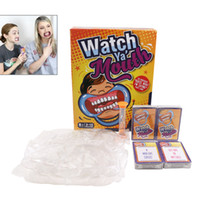 Wholesale 48pcs Watch Ya Mouth Game Christmas Celebration Party Board Games cards mouthopeners Family Edition Hilarious Mouth Guard DHL free