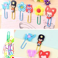 Wholesale 20pcs Cute Creative Silicone Cartoon Design Metal Paper Clip DIY Multifunction Bookmark Office School Supplies