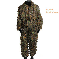 Wholesale Woodland Camo Ghillie Suit D Camouflage Jungle Hunting Clothing Set D forest hunting clothing Summer Camo clothes