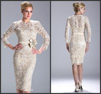 Wholesale Evening Short Party Dresses Vintage Lace Wedding Dresses Champagne Mother Bride Dresses With Lace Long Sleeve Knee Length Cheap