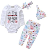 baby hats and headbands - 2017 Boys Girls Baby Onesies Clothing Sets Cotton Long Sleeve Rompers Harem Pants Hats Headbands Set Toddler Romper Clothes Suits
