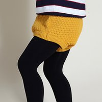 Wholesale New Bobo Style Baby Ashion Girls Pumpkin Pants High Baby Bloomers Waist Baby Girls Knit Wool Shorts Wild PP Leggings Knitted Pants
