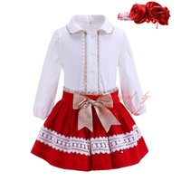 Wholesale Pettigirl Red Chritmas c Sets With Handmade Hairbands Lace White Blouse And Skirts Bountique Girls Clothing G DMCS908