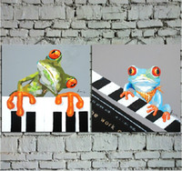 baby frog pictures - Handmade Cartoon Oil Painting on Canvas Two Picture Combined Lovers Frogs Playing Piano Draw Wall Art for Baby Room Best Gifts