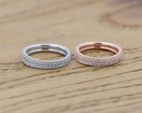Wholesale 925 Sterling Silver womens jewelry full crystal Stylish girls fine band ring Size to Wedding Party Ring index finger rings rose gold