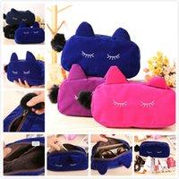 La nueva señora Women Cosmetic Bags El maquillaje empaqueta el envío libre DHL del Portable del gato de la historieta del tamaño 19 * 5 * 12cm del poliester de la franela del caso
