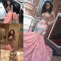 Reference Images Trumpet/Mermaid Jewel Sexy African Illusion Rose Floral Mermaid Prom Party Dresses 2017 Modest Luxury Sparkly Beaded Long Sleeve Pink Arabic Occasion Evening Gown
