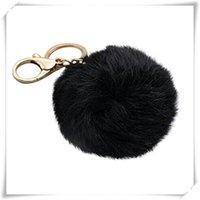 Wholesale Hot Fashion Accessories cm Novelty Plush Cute Rabbit Fur Ball Charm Gold Plated Keychain Key Chain For Car Key Ring Women Bag Handbag