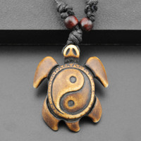 Wholesale Tibetan Yak Bone Yin Yang Turtle Charm Pendant Necklace Cord Choker Necklace