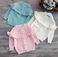 Wholesale Children Girl s Cotton Knitted Crystal Resin Button Cardigan Sweater For Fall Wniter Season Girl s Sweater Cardigan Y