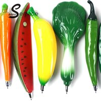 Wholesale Novelty Fruits Vegetables Shape Ballpoint Pen With Magnets Ballpens Student Gifts Material Office School Supplies Rollerball Pen