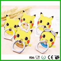 Wholesale Fashion sticky reuseable cheap price Anime pokeball pikachu metal universal mobile phone ring holder for iphone