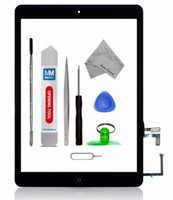 Wholesale For iPad Air Touch Screen Glass Digitizer Assembly with M Adhesive Glue Sticker and Home Button Replacement Black White mmobiel