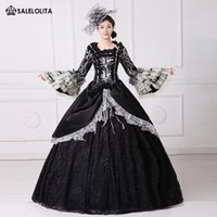 6cb9cb5950e5 2017 Brand New Black Printed Marie Antoinette Dress 18th Century Civil War  Southern Belle Ball Gown With Train Theatrical Costume