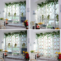 Wholesale Butterfly Pattern Door Roman Window Sheer Floral Curtain Drape Voile Valances