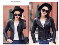 Wholesale 2016 Christmas Korea Street Style Plus Size Long Sleeve Zipper Slimming Zipper Fashion Autumn Short PU Leather Jackets For Women Black