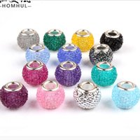 Wholesale 50PCS Fashion Round Pure Color Resin Rhinestone Silver core European Big Hole DIY Beads for Jewelry Making Low Price