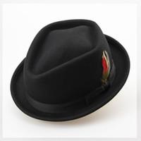 australian feathers - Retro Australian Wool Felt Jazz Men Winter Hat CM Floppy Feather Fedora Bow Hat Fashion Flat S M Large Size Woolen Male Hat