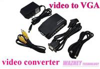 Vidéo composante de RCA de S-Vidéo de 100PCS / lot * AV à l'ordinateur portable de PC Convertisseur vidéo de VGA TV convertisseur video de cas convertisseur à l'adaptateur de VGA (TV-PC)
