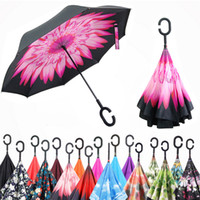 adult slides - Inverted Umbrella Double Layer Reverse Rainy Sunny Umbrella with C Handle J Handle Self Standing Inside Out Special Design Free