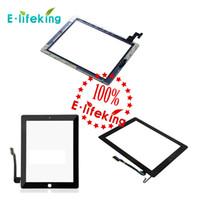 20PCS para el iPad 2 3 4 piezas de reemplazo de la lente delantera de cristal de la asamblea del digitizador de la pantalla táctil para el negro blanco del iPad DHL