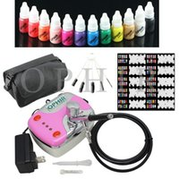 air bags kits - New OPHIR mm Airbrush Kit x Nail Inks Pink Air Compressor with Airbrush Nail Stencils Bag Cleaning Brush