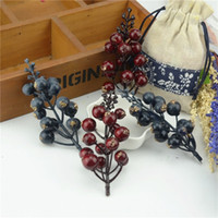 artificial fruit trees - head Artificial Mini Cherry Berries Fake Pearl Flower Stamen DIY Wedding Home Bouquet Christmas Tree Decoration Fruit