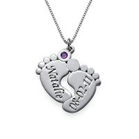 baby names personality - Engraved Baby Feet Necklace with Birthstones New Listting Personality Birthstone Necklaces Custom Made Any Name YP2489