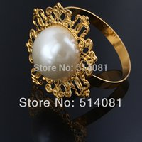 Wholesale New Gold Napkin Ring Rhinestones Napkin Rings for Weddings Pearl Napkin Rings shiny NR01 GPL