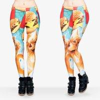 animal fast food - Women Leggings Hamburger Cat Fast Food Funny D Print Pants Stretchy Yoga Trousers J29513