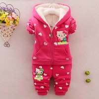 baby silk coats - Retail winter girls suit baby girls cartoon hello kitty Cashmere hooded warm coat pants piece suit baby girls clothes